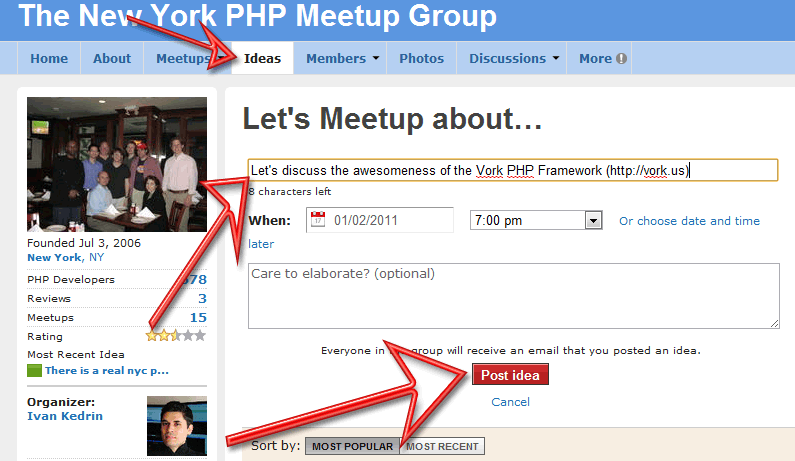 Vork Meetup idea instructions